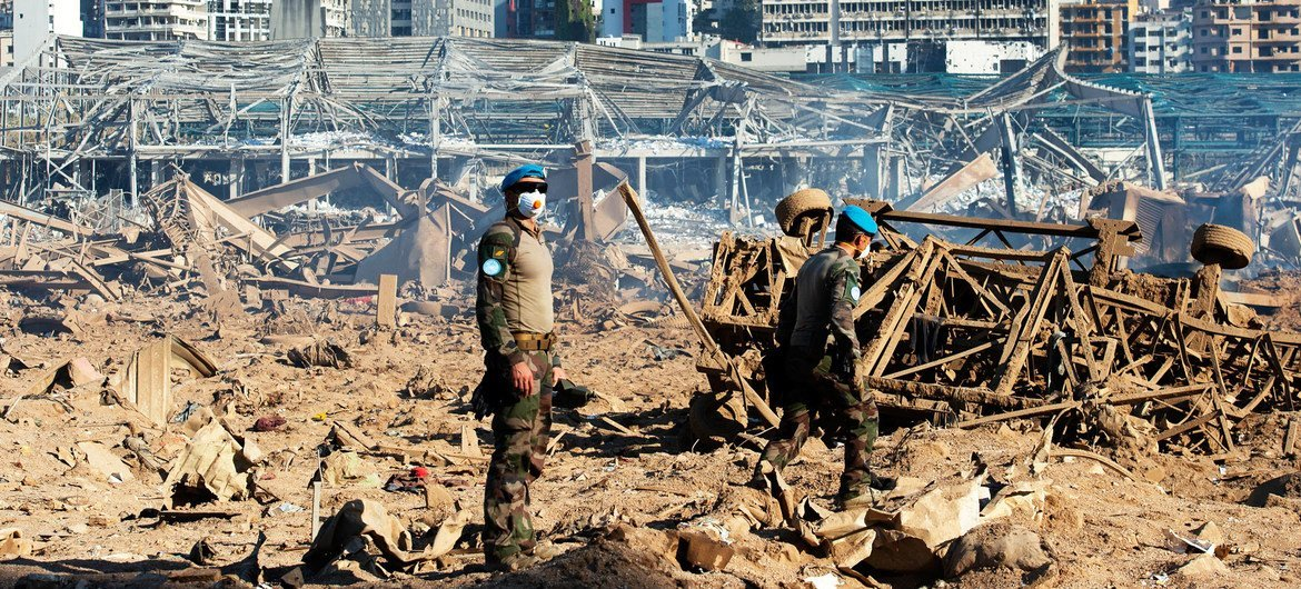 Peacekeepers from the UN mission, UNIFIL,  measure  the magnitude of the blast that destroyed Beirut Port, Lebanon.
