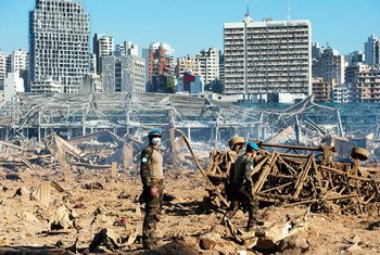 A UNIFIL Force Commander Reserve team assesses the magnitude of an explosion on Tuesday, 4 August 2020 at Beirut Port. Lebanon.