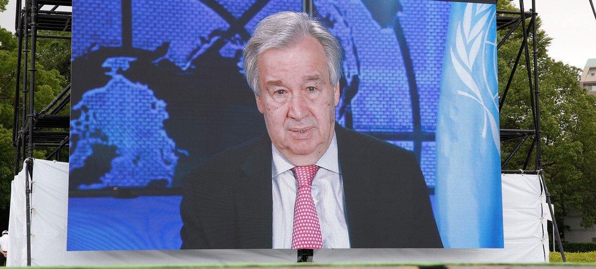 Em mensagem vídeo, secretário-geral da ONU prestou tributo às vitimas do ataque nuclear