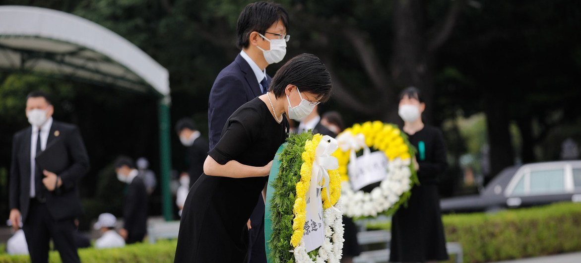 The UN Under-Secretary-General of Disarmament Affairs Izumi Nakamitsu (bowing) attends the Peace Memorial Ceremony in Hiroshima, Japan on August 6, 2020.