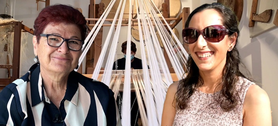 Flora Hadjigeorgiou (left) and Hande Toycan are using their love of weaving to bridge the divide in Cyprus.