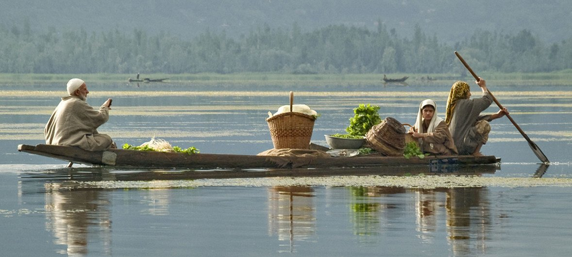 A family transports produce to the maket in Srinagar, Jammu and Kashmir.