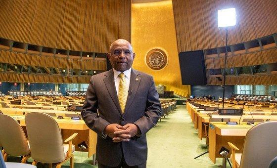 联合国大会当选主席阿卜杜拉·沙希德在联大会堂。