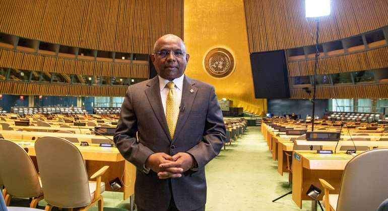 The President-elect of the UN General Assembly Abdulla Shahid in the General Assembly hall.