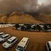 Песчаная буря нависла над базой ООН в Дарфуре, Судан