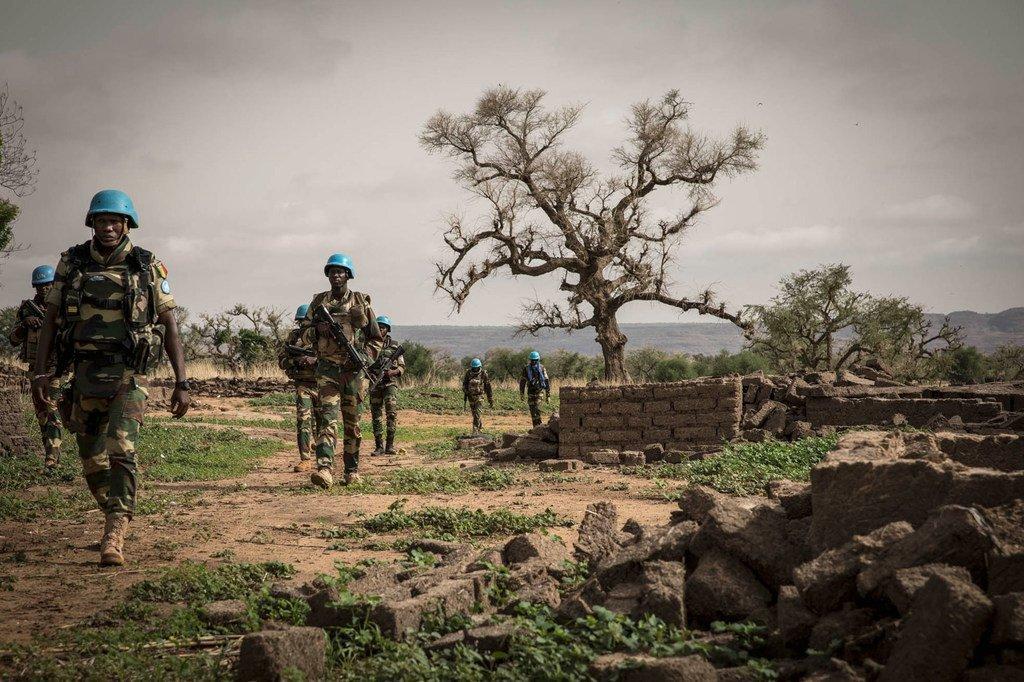 Des Casques bleus lors d'une opération militaire dans la région de Mopti, au centre du Mali.
