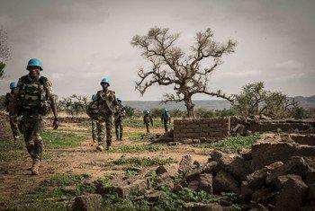 Fuerzas de paz de la ONU durante un operativo militar en la región de Mopti, en el centro de Mali.