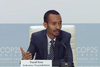 Fazal Issa, Mkurugenzi Mtendaji wa taasisi  ya Sokoine akihutubia COP25 huko Madrid Hispania kuhusu vipaumbele vya Afrika.
