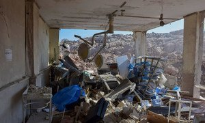 A hospital for women and children in Idlib, Syrian Arab Republic, lies severely damaged by air strikes that came in the early morning hours.