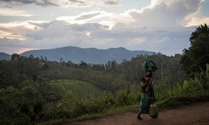 A woman, carrying her child, walks back to her home from the fields in DR Congo's restive North Kivu province. (file photo)
