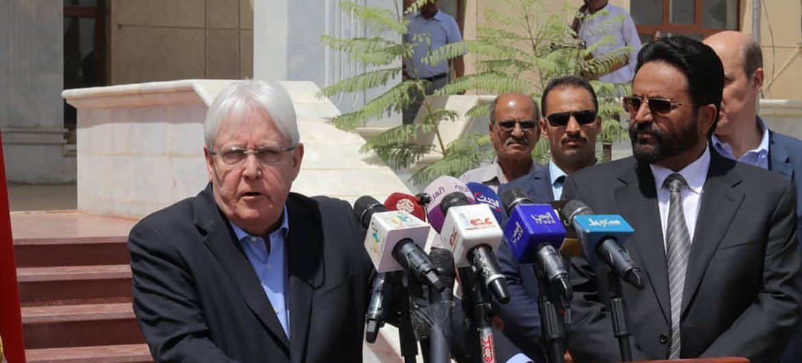 Special Envoy for Yemen, Martin Griffiths, talks to journalists during a visit to Marib