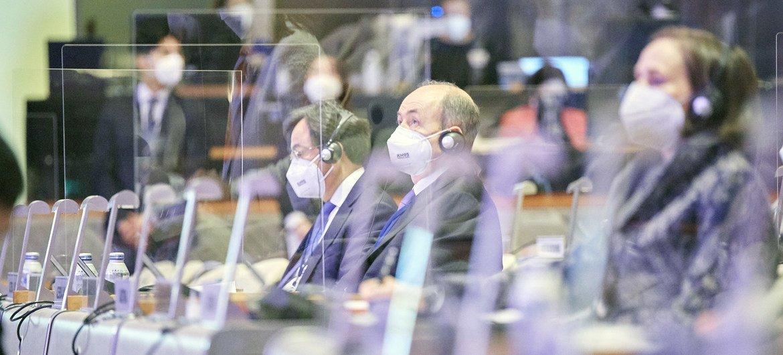 代表们出席在日本京都举行的第14届联合国预防犯罪和刑事司法大会开幕式。