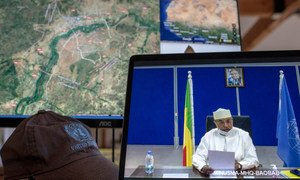 Mahamat Saleh Annadif, Représentant spécial du Secrétaire général des Nations Unies pour le Mali, s'exprime lors d'une réunion virtuelle du Conseil de sécurité sur la situation dans ce pays d'Afrique de l'Ouest.