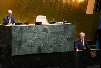 UN Secretary General António Guterres addresses the General Assembly as part of the selection process for another term as the UN Chief.