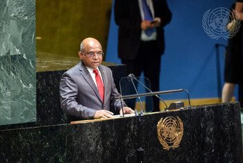 Abdulla Shahid of the Maldives takes the podium after being elected President of the 76th session of the General Assembly.