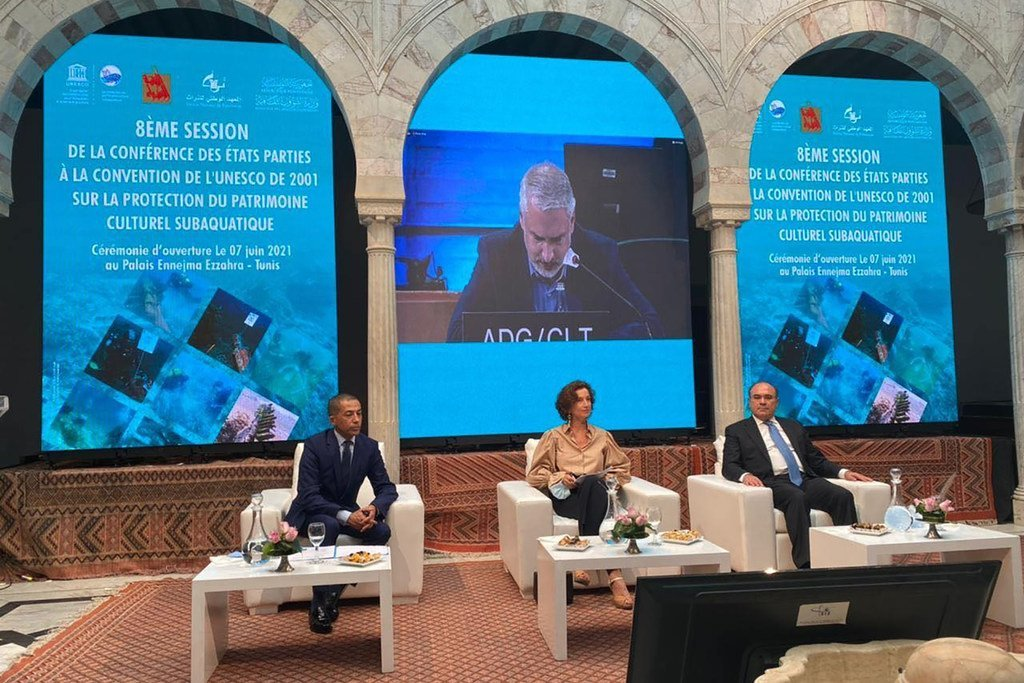 أودري أزولاي، المديرة العامة لمنظمة اليونسكو، في اليوم الأول من زيارتها إلى تونس التي تمتد لثلاثة أيام.  (07 حزيران/يونيو 2021).