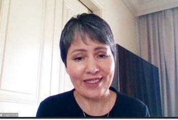 Д-р Акджемал Магтымова, глава Представительства ВОЗ в Сирии, во время онлайн-брифинга