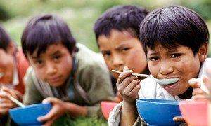 أطفال يأكلون في الإكوادور