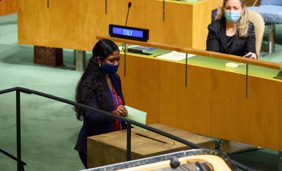 Thilmeeza Hussain, Ambassador of the Republic of Maldives to the UN, casts her ballot for President of 76th Session of General Assembly.