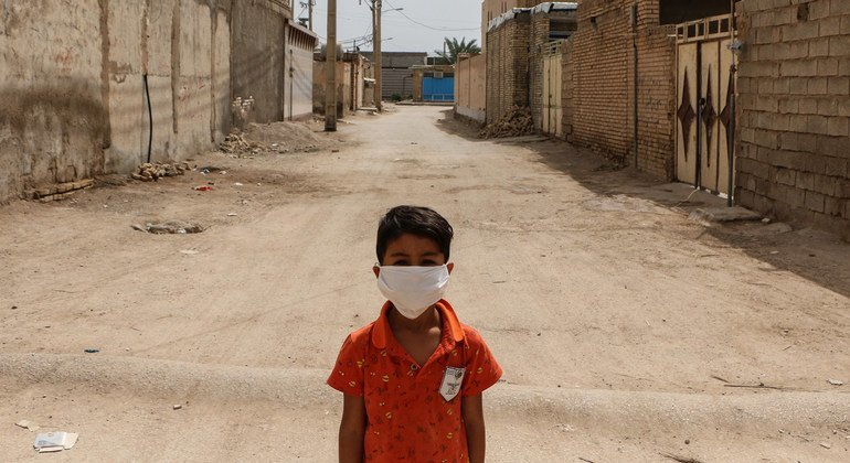 A boy stands in a disadvantaged neighbourhood of Ahvaz, Iran. The country is among those being subjected to international sanctions, despite the ravages of COVID-19.