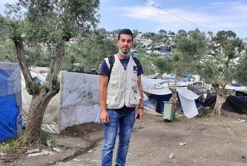 Shadi Mohammedali, a refugee from Gaza, now works for the International Rescue Committee (IRC). Here he is pictured in the Moria Refugee Camp in Greece.