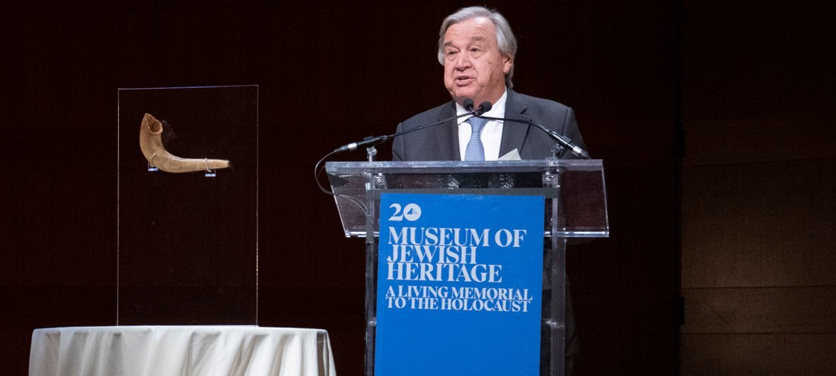 Secretary-General António Guterres delivers a keynote address at the 81st Anniversary Commemoration of Kristallnacht at the Museum of Jewish Heritage, in New York.