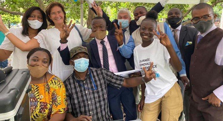 Members of the Radio Okapi team, which is run by the UN Mission in the Democratic Republic of the Congo, MONUSCO.