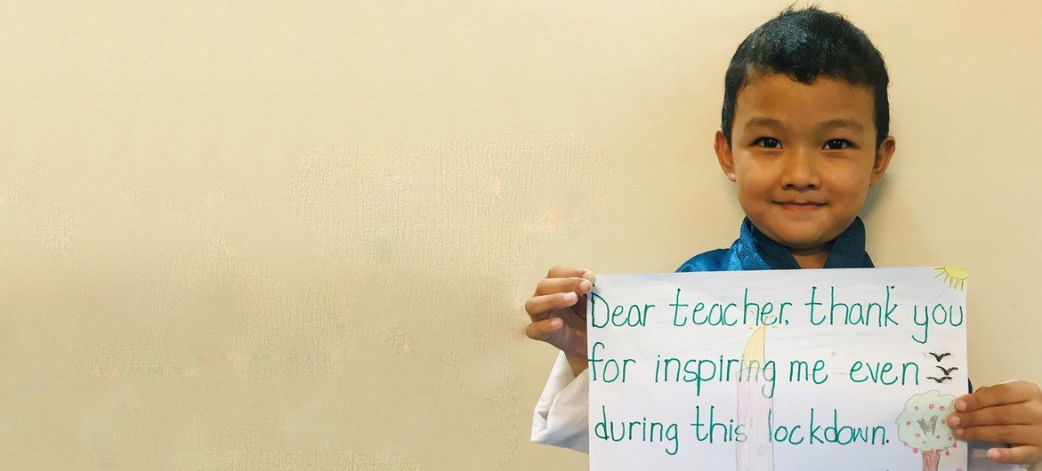 Six-year-old Ugyen Jigme Yoedzer from Bhutan says his teacher has been a source of inspiration during the COVID-19 lockdown.