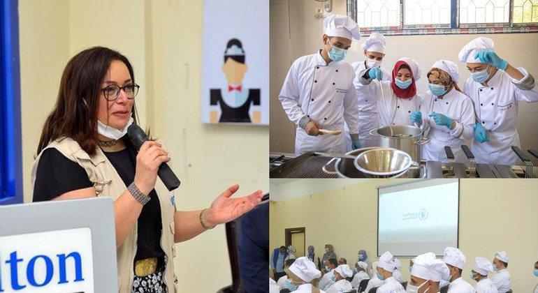 السيدة دعاء عرفة، مديرة برامج الحماية الاجتماعية في برنامج الأغذية العالمي تتحدث إلى الحضور في فعالية تدريب شباب للأعمال الفندقية