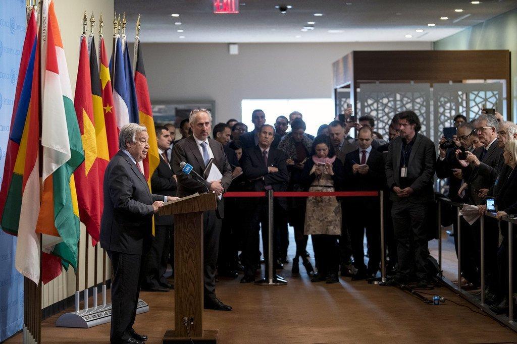 Le Secrétaire général de l'ONU, António Guterres, lors d'un point de presse le 6 janvier 2020 à New York.
