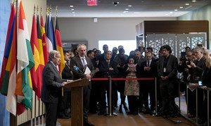 The UN Secretary-General António Guterres calls for a de-escalation of geopolitical tensions at a press conference at UN Headquarters on 6 January, 2020.