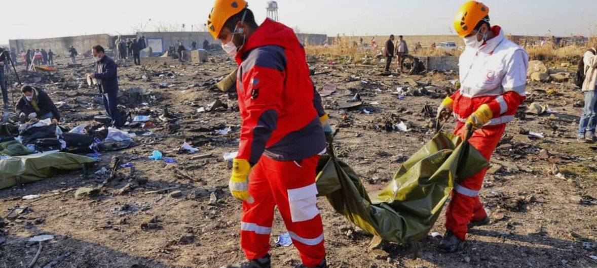 Iranian Red Crescent, and other relief organizations, participate in an operation to transfer dead bodies after a Ukrainian plane crashed in Tehran, Iran.