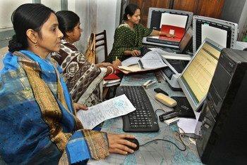 Trabajadoras de una plataforma digital en Bangladesh