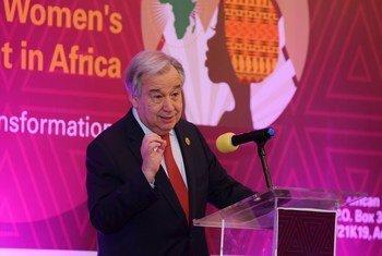 在2020年非洲联盟首脑会议期间,联合国秘书长古特雷斯在一个有关性别平等和增强妇女权能的高级别会议上发表讲话。