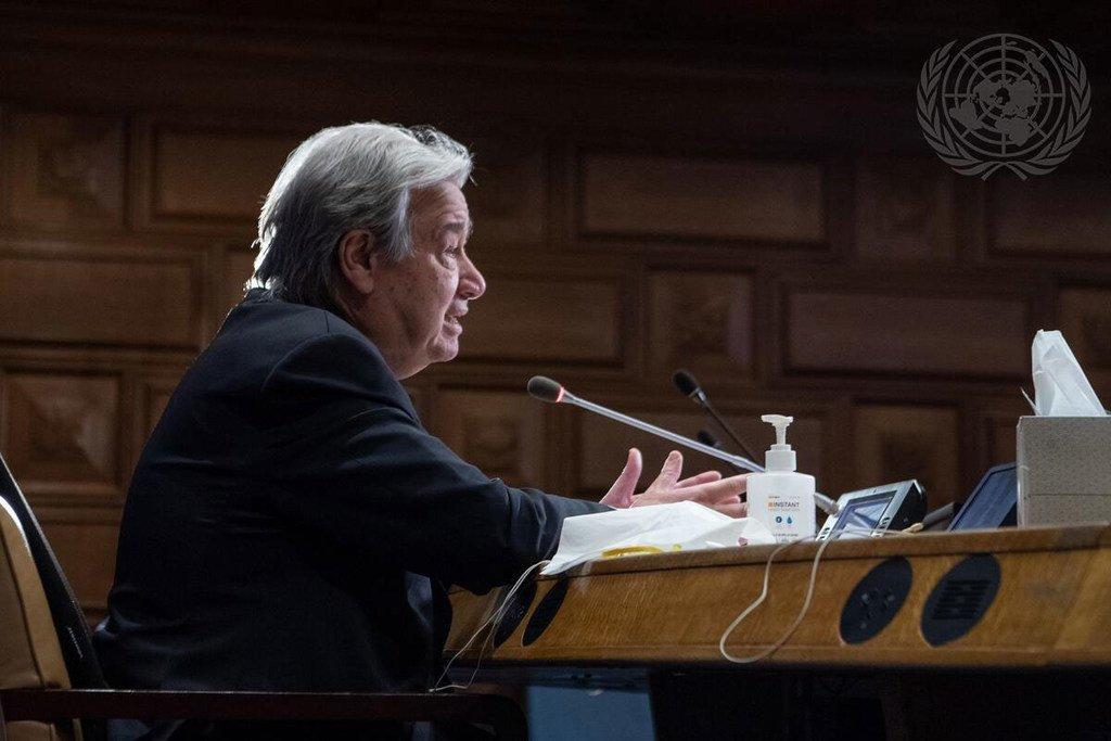 Le Secrétaire général de l'ONU, António Guterres, intervenant par visioconférence (archive)