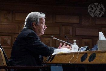 यूएन महासचिव एंतोनियो गुटेरेश, ग्लासगो (यूके) में होने वाले कॉप26 सम्मेलन की तैयारियों के बारे में, सदस्य देशों को अवगत कराने के लिये, एक वर्चुअल बैठक में.