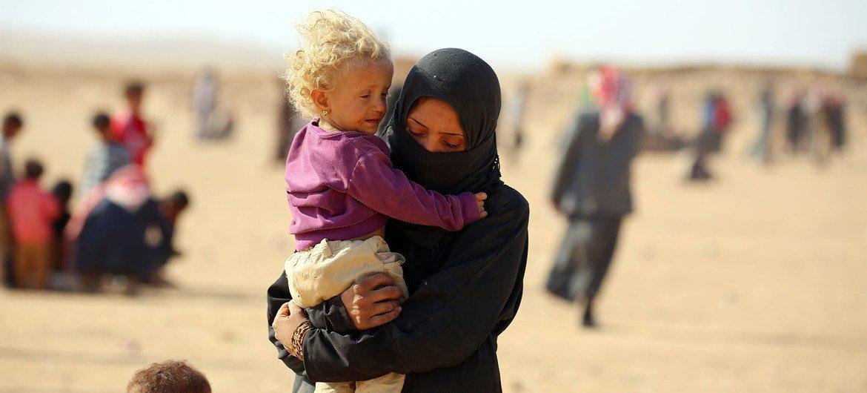 لاجئون في مخيم الهول بمحافظة الحسكة شمال شرق سورياز