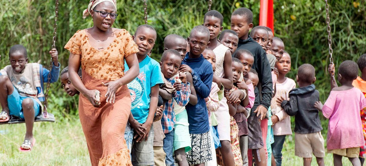 Children at the Oruchinga refugee settlement in Uganda are being taught critical development skills, as the world is encouraged to foster policies that tackle high and rising inequality. (file)