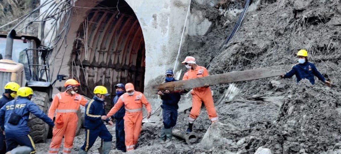 Rescue efforts after part of a Himalayan glacier broke away in India's Uttarakhand province in February, unleashing a torrent of water, rock and debris downstream.