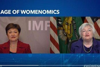 Глава МВФ Кристалина Георгиева и министр финансов США Джанет Йеллен поговорили об экономике и положении женщин.