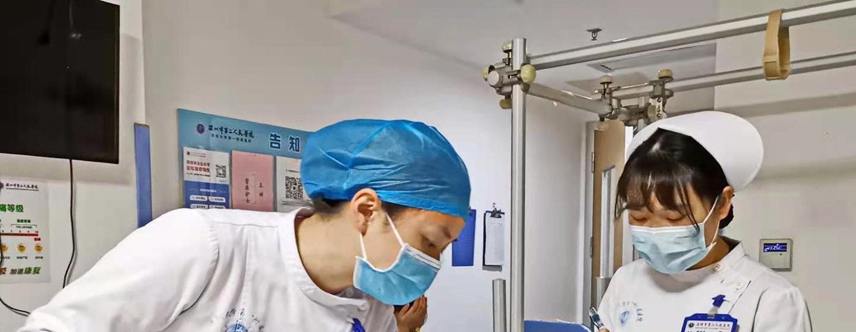 Trabajadoras médicas en el hospital de Shenzhen en China.