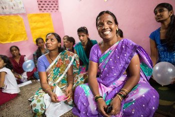 Indian women participate in training providing them with skills, knowledge and confidence to set up their own business or find work.