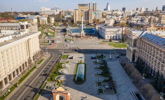 Майдан Независимости. Центр Киева во время карантина. Пятница, вторая половина дня.