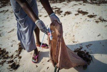 Litter is removed from a beach in Watamu in Kenya.