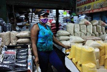 """Él mercado de Lo Valledor en Chile continúa suministrando alimentos al público durante la pandemia de COVID-19 con todas las medidas de protección. La situación actual del coronavirus en América Central y del Sur es la """"más compleja""""."""