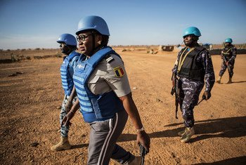 UN police officers  patrol in the Menaka region in the north-east of Mali.