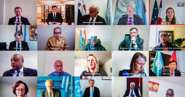 Photo ONU: Le Conseil de sécurité de l'ONU réuni à distance