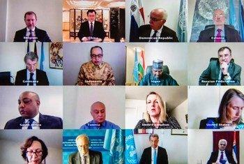 من الأرشيف: أعضاء مجلس الأمن خلال جلسة افتراضية مفتوحة