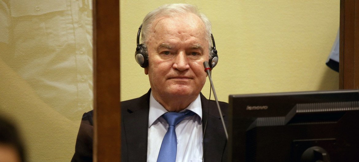 Indicted Bosnian-Serb war criminal Ratko Mladic appears before the International Residual Mechanism for Criminal Tribunals Appeals Chamber in The Hague.