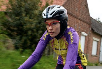 Road cyclist and Tokyo 2020 Refugee Olympic Team member Masomah Ali Zada, originally from Afghanistan, trains near her home in Lille, France.